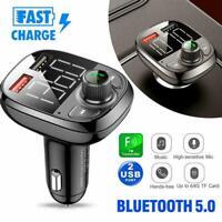 Bluetooth 5.0 Car FM Transmitter Freisprechen USB Charger Kit Player Mp3 D6H8