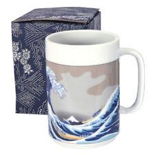 "Japanese 5""H Tea Beer Mug Cup Blue Hokusai Hiroshige Big Wave, Made in Japan"