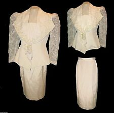 Wedding Suit, Vintage 1970s?, Blazer & Skirt Ivory Lace Beads Sequins, L