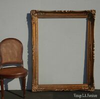 "Large Ornate 57""H x 45"" Vintage French Provincial Gold Picture Frame"