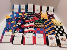 Lot Of 12 Pairs Of Happy Socks Polka, Dot Striped Multi-Color Crazy 10-13 NWT