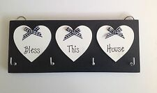 Key Holder Bless This House Black