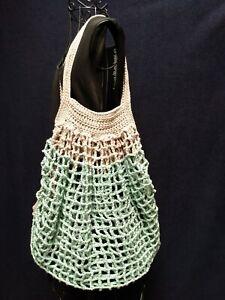 French Market Bag Handmade Crochet Shopping Tote Reusable