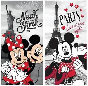 Disney´s Minnie & Mickey Mouse in New York & Paris 2 Badetücher 70x140 Handtuch