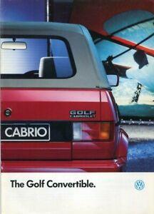 VOLKSWAGEN VW GOLF CONVERTIBLE/CABRIOLET GTI/CLIPPER- 1991 Mk1 UK sales brochure
