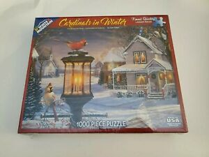 White Mountain 1000 Pc. - Cardinals in Winter By Sam Timm New Sealed with Damage