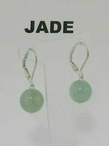 Natural Jade  Sterling silver Earrings   (10mm)