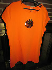 Girls Halloween Top Orange Sequin Pumpkin On Front Size XL Pullover 14/16