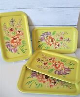 "4 Vintage Metal TV Trays Yellow Flowers Serving Tin Litho Tole 14""x 8.75"" MCM"