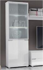 White Display Cabinet Glass Storage Furniture Door Cupboard Living Gloss Shelves