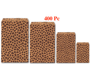 400pc Flat Kraft Bags Jewelry Gift Bags Leopard Kraft Bags ASSORTED Size Bags