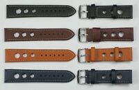 RALLY RACING STRAPS GENUINE QUALITY leather mens watch strap stitched 20mm- 24mm