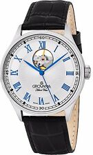Grovana Men's Classic Silver Dial Leather Strap Swiss Automatic Watch 1190.2582