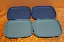 "New UNIQUE Set of 4 Tupperware Luncheon plates 8"" aqua and teal"