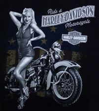 Harley Davidson Carlton Mantua Ohio Pinup Girl Graphic T Shirt Size Large