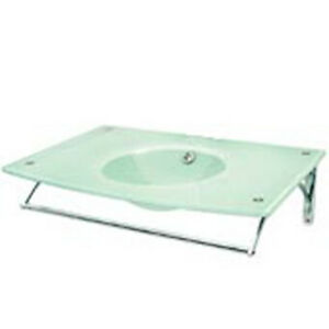 Decolav Frosted White Glass Lavatory Bathroom Vanity Bowl Sink 2230-8CP-WH