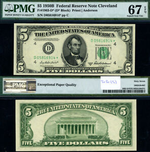 FR. 1963 D* $5 1950-B Federal Reserve Note Cleveland D-* Block Superb Gem PMG 67