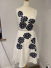 Monsoon white and navy flower appliqué occasion Dress, Net, sequin UK 12 BNWT