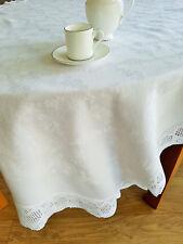 Vintage white cotton damask tablecloth with crochet lace edging 137cm x 109cm