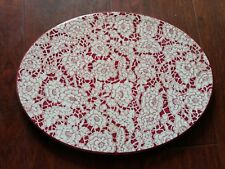RARE  ANTIQUE WOOD & SON'S PINK RED FLOWERS OVAL BISCUIT PLATTER ENGLAND PLATE