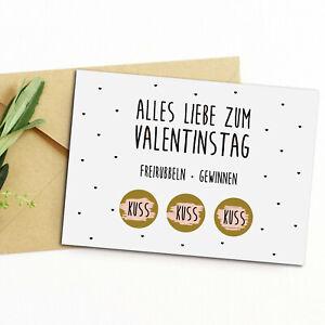 Postkarte Valentinstag FREIRUBBELN + GEWINNEN inkl. Briefumschlag Rubbelkarte