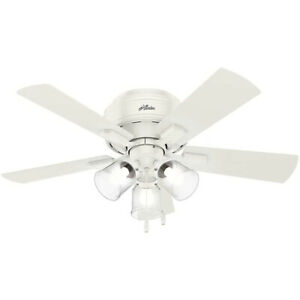 """Hunter Crestfield 42"""" Low Profile Ceiling Fan w/ LED Light and Pull Chain, White"""