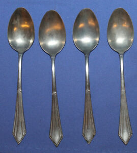 Vintage Set 4 Silver Plated Dessert Spoons Alpacca