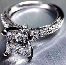 Ring in Real 14k White Gold 2.75Ct Princess White Sparkling Diamond Engagement