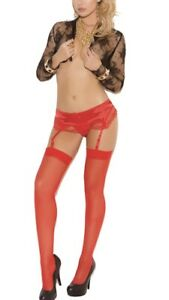 BNWT Elegant Moments Sheer Thigh Hi Stocking (1725) One Size Red