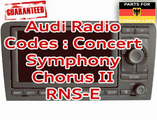 Audi Radio Stereo PIN Security Code Unlock Decode Service RNSE BNS 5.0 SAT NAV