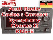 AUDI RADIO PIN SICURO CODICE SBLOCCARE decoder servizio RNS-E Symphony Chorus II