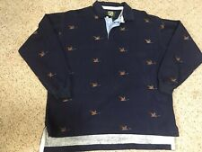 Vintage Ducks Unlimited Blue Long Sleeve Polo Rugby Duck Pattern Shirt Large