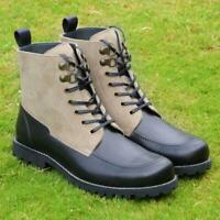 Men Hiking Boots Black Handmade Calf Leather Ankle Two Tone Suede Dress Shoes