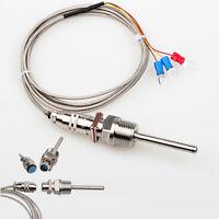 "RTD Pt100 Temperature Sensor Probe 50mm 1/2"" NPT Thread w/ Detachable Connector"