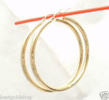 "3mm X 55mm 2.25"" Large Diamond Cut Hoop Earrings REAL 10K Yellow Gold 3.9gr"