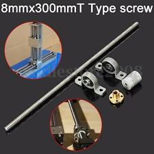 3D Printer 8mmx300mm T Type Lead Screw w/ Mounted Ball Bearing + Shaft Coupling