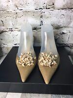 Manolo Blahnik Sz 40 Beige Canvas Shell Accent Pointed Toe Mule Slide Pump Shoes