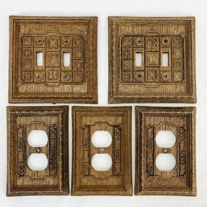 Vtg Edmar Creation Outlet Plate Switch Plate Covers Plastic Faux Wood Lot of 5