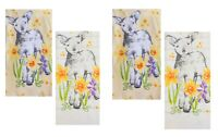 Celebrate Easter Together Kitchen Dish Towels LAMB IN GARDEN 4-Piece Set NEW