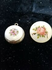 Antique Sterling Silver Guilloche Enamel Rose  Locket engraved and Brooch