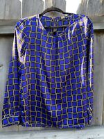 The Limited Blouse Purple Gold Chain Link Long Sleeve Shirt Size Large