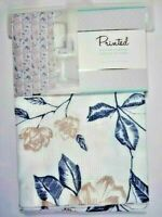 Floral Fabric Bathroom Shower Curtain Mauve Flowers Navy Blue Leaves White