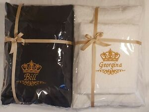 Name with Crown Personalised Embroidered towels  Gift valentine Birthday present
