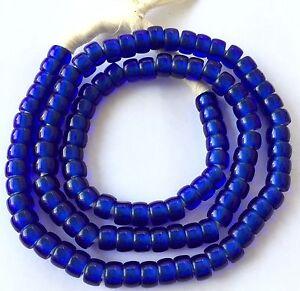 Fine Translucent Dark Blue Bohemian glass Crow African trade beads