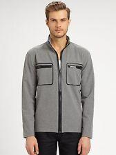 Michael Kors Gray Zip Up Nylon Cotton Jacket, Ash Melange L