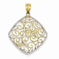 14K TWO TONE GOLD FILIGREE SWIRL DIAMOND-SHAPED CHARM  PENDANT-  1.5 GRAMS