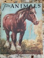 Antique Childrens Book 1922 Farm Animals Saalfield Publishing