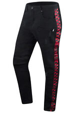 New Men Denim Jeans Hustlers Checkered Track Pants Red Camo Black Skinny Tapered