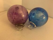 """BEAUTIFUL OUTDOOR  INDOOR THICK BLOWN 6"""" GLASS BALLS ORNAMENT GLASS PURPLE BLUE"""