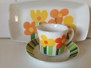 Vintage Figgjo Annemarie Cup Saucer & Plate Norway Scandinavian Design Pop Art